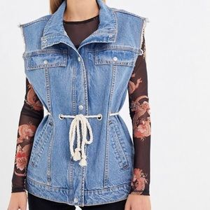 UO Denim Safari Vest Belted Blue with Rope Tie NWT